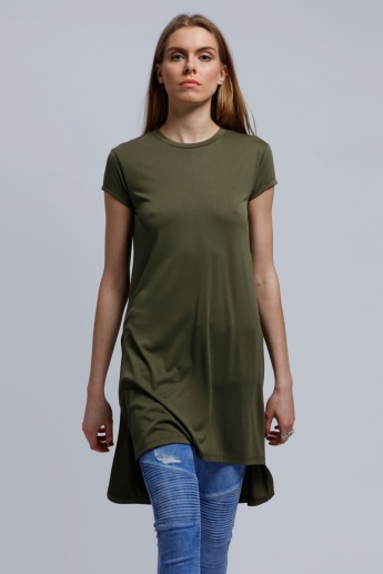 Round Neck Tunic with Short Sleeves
