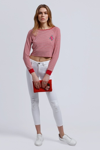 Striped Crop T-Shirt with Boat Neck and Long Sleeves