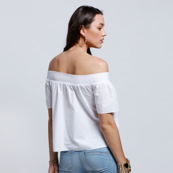 Off Shoulder Top with Embroidery and Short Sleeves