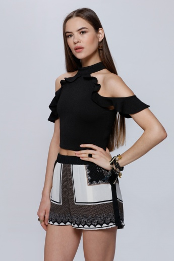 Cold Shoulder Top with High Neck