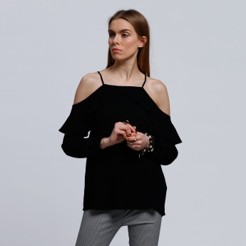 Long Sleeves Off Shoulder Top