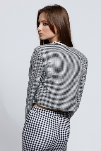 Chequered Jacket with Long Sleeves and Floral Embroidery