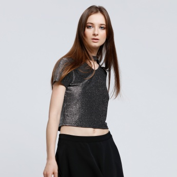 Choker Neck Crop Top with Short Sleeves