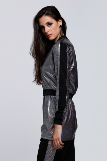 Holographic Jacket with Long Sleeves and Zip Closure