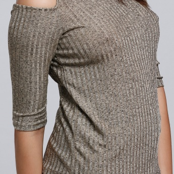 Ribbed T-Shirt with Cold Shoulders