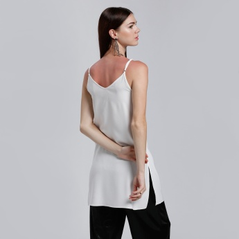 Sleeveless Embellished Long Top with Sleeves