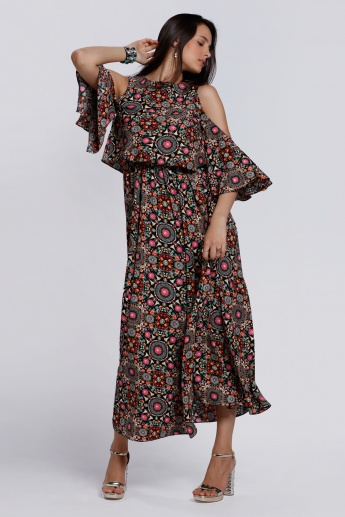 Printed Double Layer Maxi Dress with Cold Shoulders