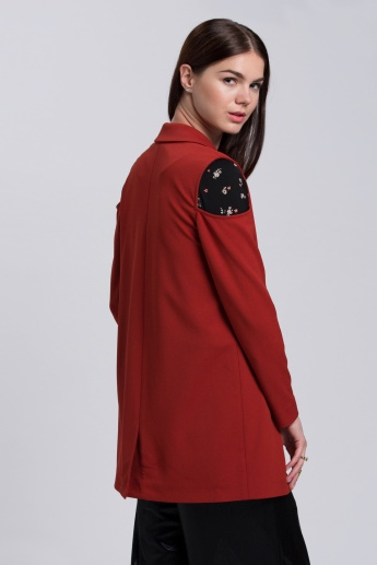 Long Sleeves Jacket with Notch Collar and Cold Shoulders