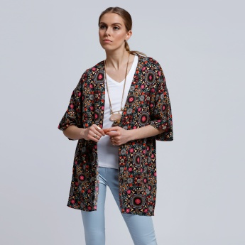 Printed Open Front Shrug with Back Slit