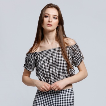 Chequered Crop Top with Elasticised Hem