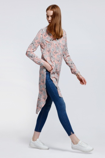 Printed Longline Top with Long Sleeves and High Low Hem