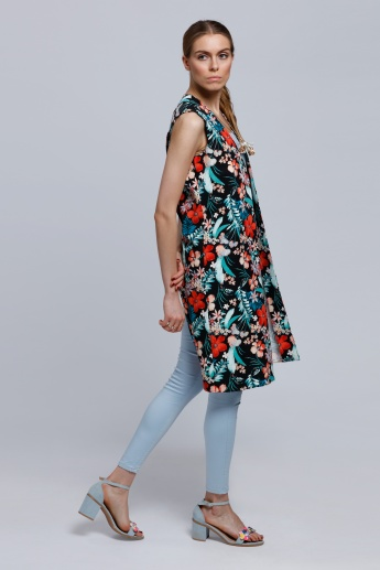 Printed Open Front Sleeveless Jacket with Back Slit