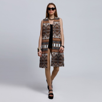Printed Sleeveless Jacket with Open Front