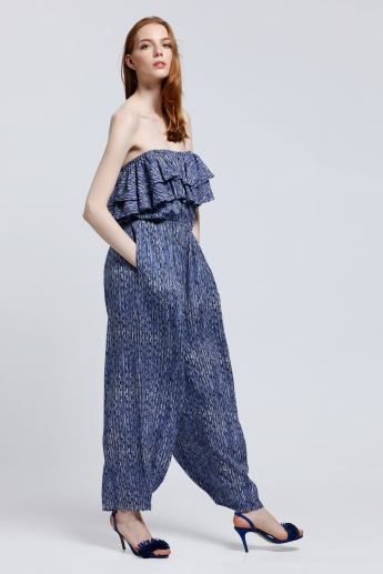 Printed Bustier Ruffled Jumpsuit with Pocket Detail