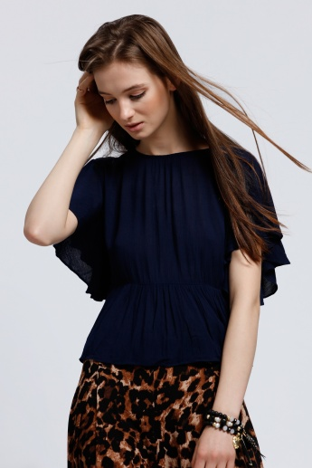 Ruffle Round Neck Top with Short Sleeves