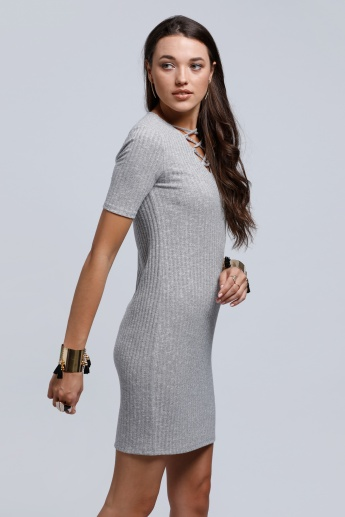 Ribbed Dress with Short Sleeves
