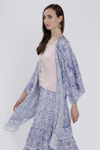 Printed Waterfall Open Front Shrug