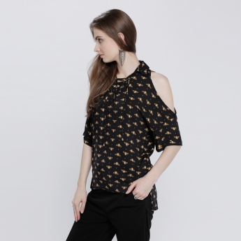 Printed Cold Shoulder Top with Tie Up Neck