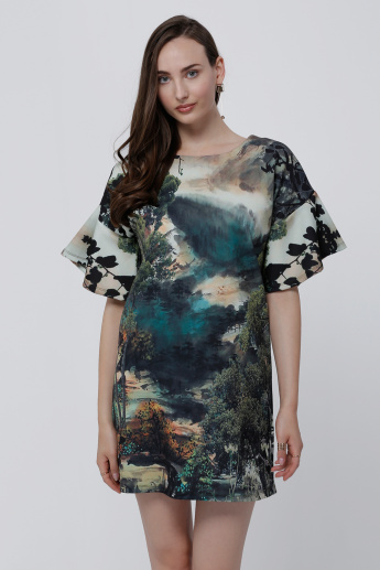 Printed Mini Dress with Boxy Sleeves