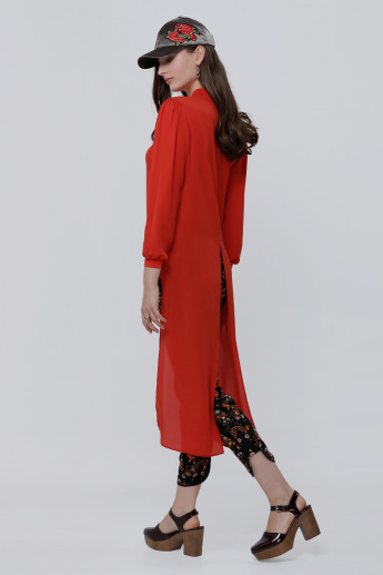 Long Sleeves Shirt with High Low Hem and Regular Fit