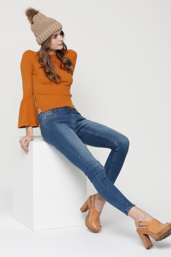 Ribbed Round Neck Top with Bell Sleeves