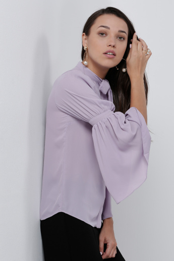 Flared Sleeves Shirt with Pussybow Detail
