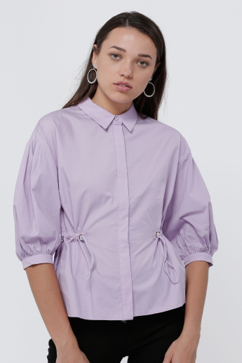 Ruching Detail Shirt with 3/4 Sleeves
