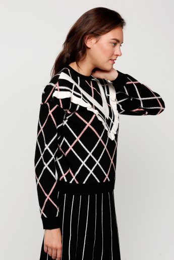 Long Sleeves Sweater with Ruffle Detail