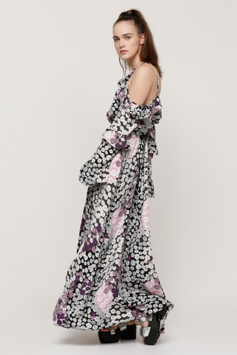 Printed Maxi Dress with Cold Shoulders