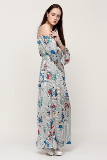 Printed Maxi Dress with Cold Shoulders and Slit