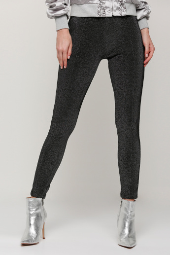 Metallic Full Length Pants with Elasticised Waistband