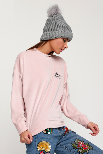 Long Sleeves Sweat Top with Key Hole Closure