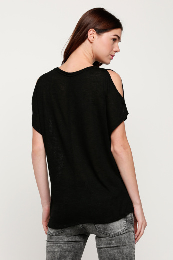 Round Neck Top with Cold Shoulders