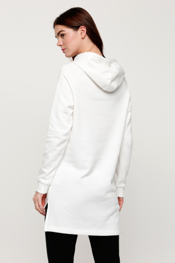 Long Sleeves Sweatshirt with Hood and High Low Hem