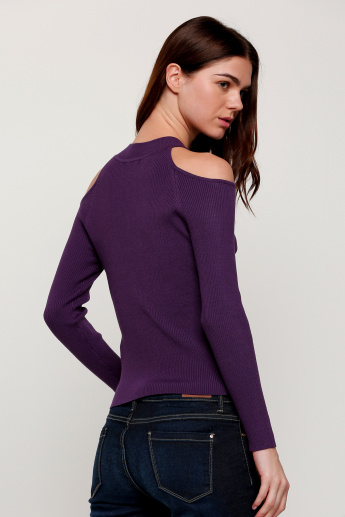 Ribbed Cold Shoulder Top with Long Sleeves