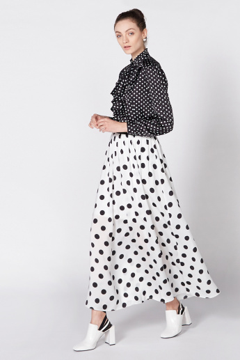 Polka Dot Printed Top with Long Sleeves and Ruffle Detail