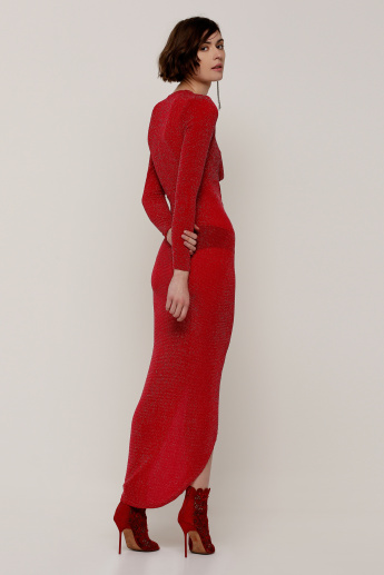 59eae0118377 Textured Maxi Dress with Long Sleeves and Ruched Detail | Red