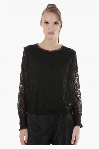 Elle Embroidered Lace Top with Round Neck and Long Sleeves in Regular Fit