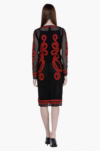 Elle Cord Embroidered Midi Dress