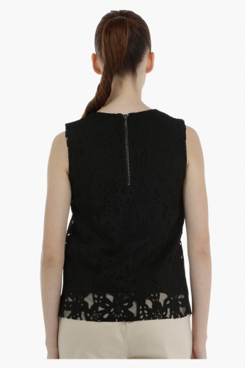 Elle Laser Cut Top with Boat Neck