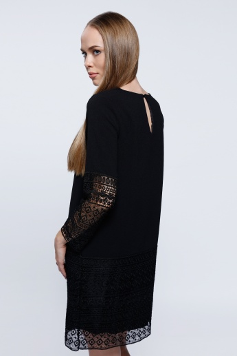 Elle Midi Lace Dress with Long Sleeves