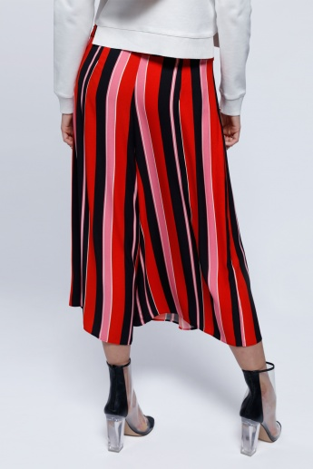 Elle Striped Culottes with Front Slit