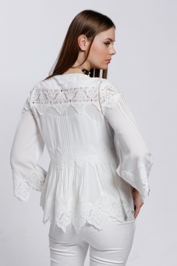 Elle Lace Top with V-Neck and Bell Sleeves