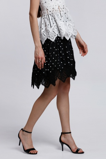 Elle Printed Skirt with Lace Detail