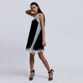 Elle Pleated Dress with Lace Detail