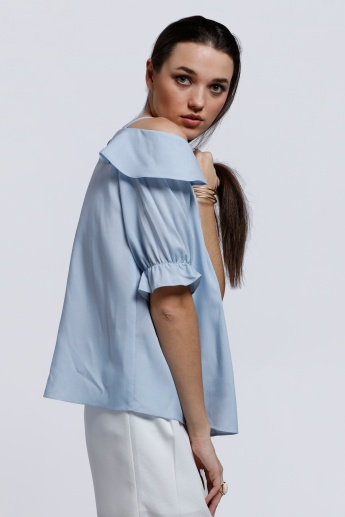Elle Ruffled Top with Cold Shoulder