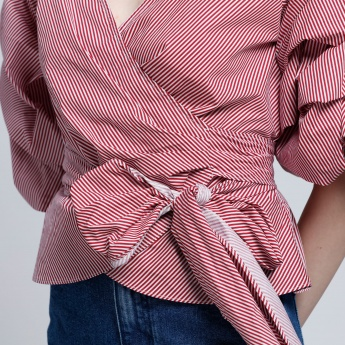 Elle Striped Wrap Top with Tie Up