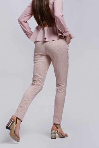 Elle Textured Full Length Trousers with Pocket Detail