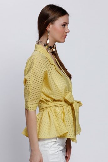 Elle Chequered Top with Tie Up and Notch Collar