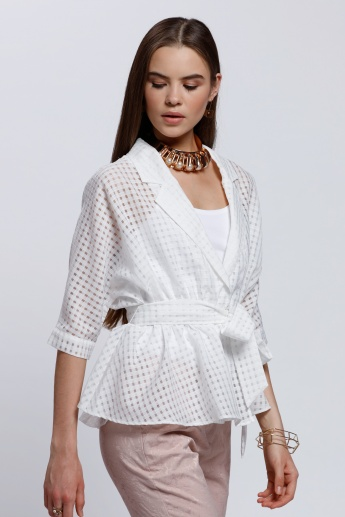 Elle Short Sleeves Top with Front Tie Up